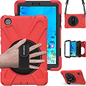 "BRAECN Lenovo Tab M8 8.0 Inch Case, Shockproof Rugged Heavy Duty Kids Friendly Case with Rotatablet Hand Strap, Carrying Shoulder Strap, Rotating Kickstand for Lenovo Tab M8 8.0"" HD Tablet -Red"