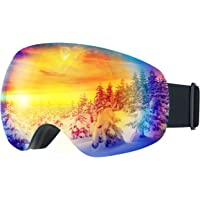 Mpow Gafas de Esquí, Gafas de Nieve de Snowboard Unisex con Anti-Niebla y Tratamiento de Protección UV400, Lentes Gran Angular y Esférica,para Mujeres, Hombres y Niños