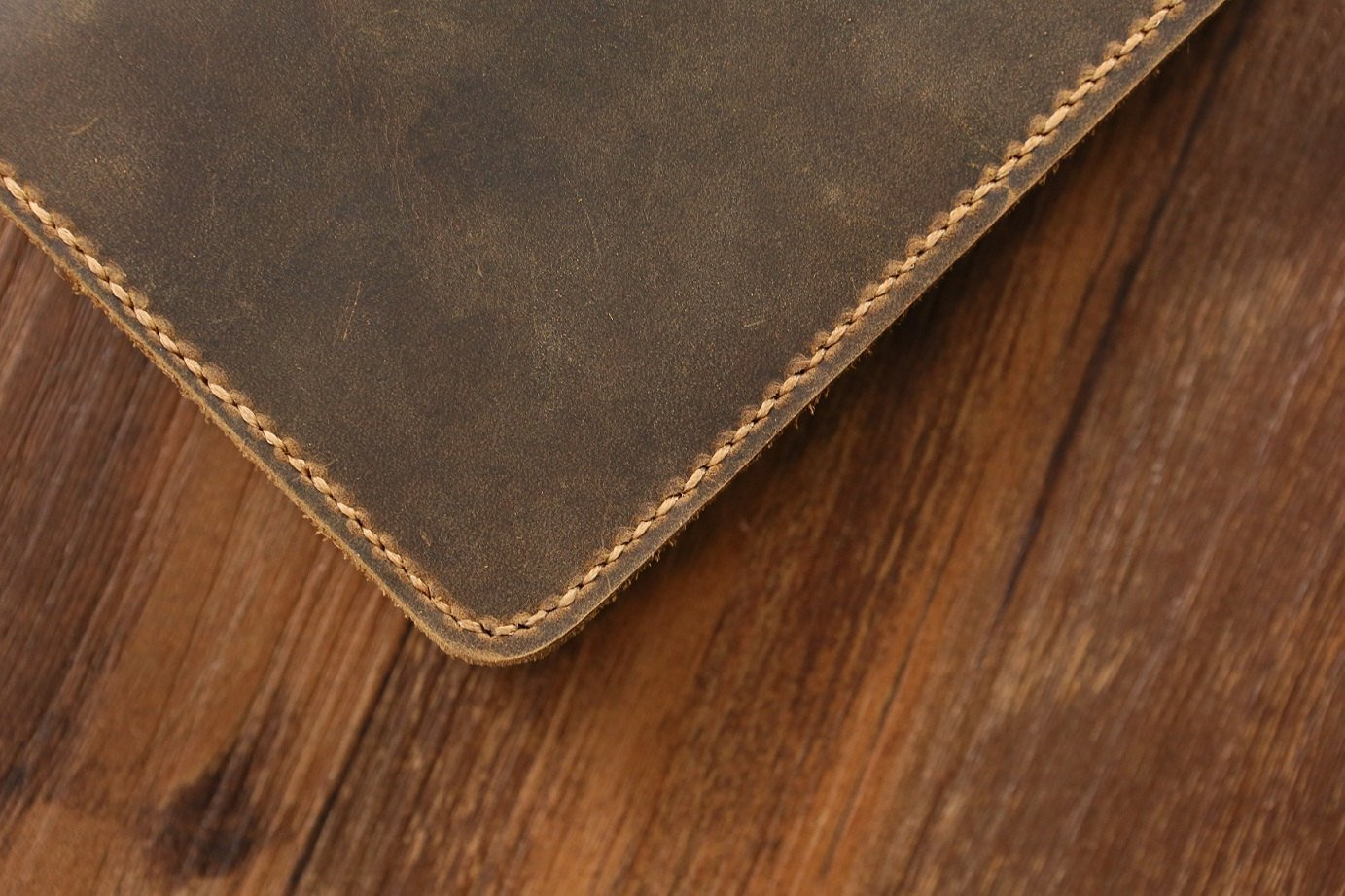 Vintage A6 notebook field notes leather Portfolio cover / distressed leather travel journal cover with card pen slot -NB005S by D&M Leather Studio