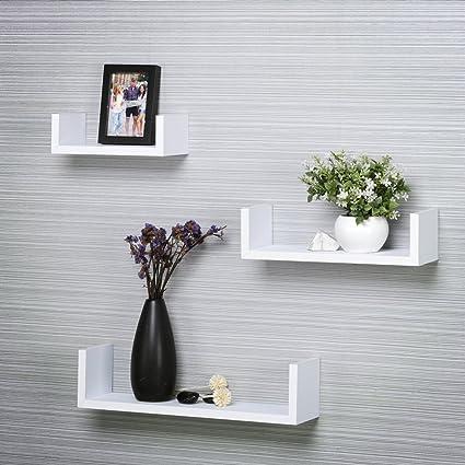 Santosha Decor MDF U-Shape Metallic Paint Floating Wall Shelves for  Decoration and Living Room Furniture (White) - Set of 3