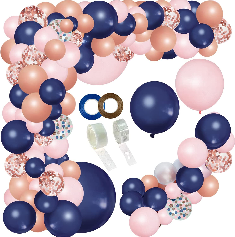 JULLIZ 144pcs Rose Gold Navy Blue and Pink Gender Reveal Balloon Garland Confetti Balloons for Graduation Shower Wedding Graduation Birthday Party Decoration