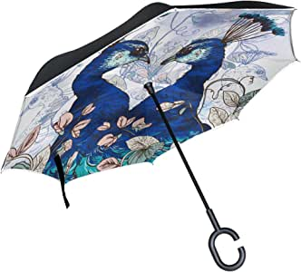 Upside Down Umbrellas C-Shaped Handle Women Men Peafowl Blue Peafowl Peacock Reverse Inverted Windproof Umbrella Double Layer Inside Out Folding Umbrella