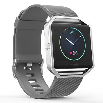 MoKo Fitbit Blaze Watch Correa Reemplazo Suaves del Cuero Auténtico con Diseño de Lichee para Fitbit Blaze Smart Fitness Watch, Gris: Amazon.es: Electrónica