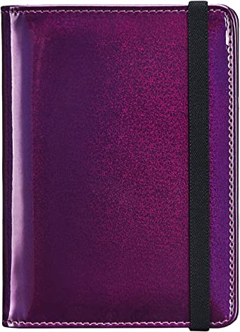 Mens Leather Black Purple Document Holder Travel Wallet for Passport with Zipper