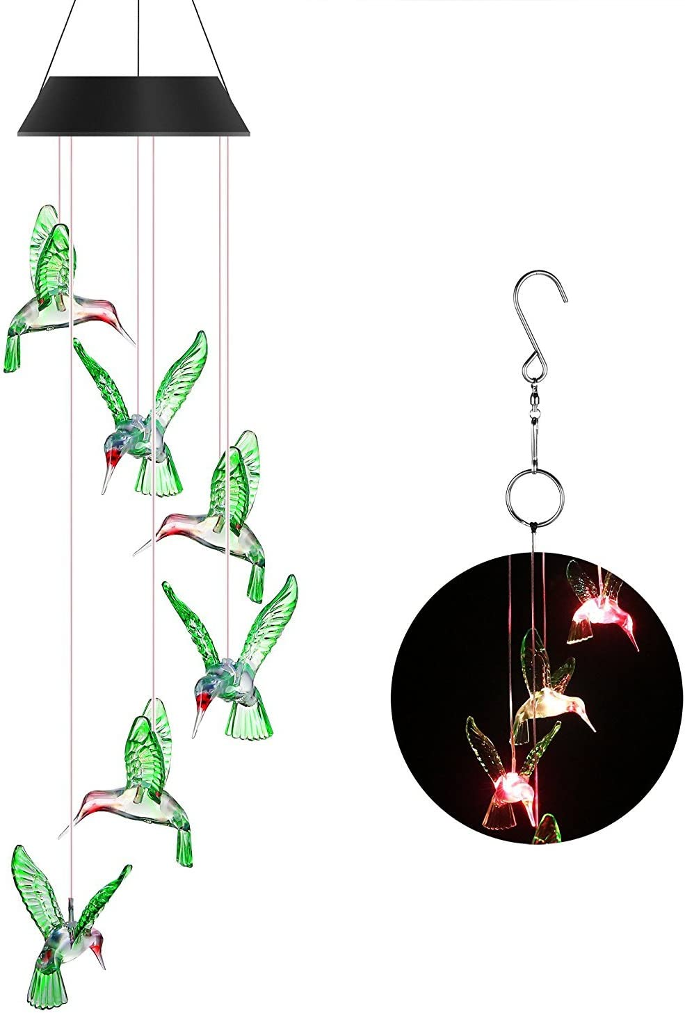 OKSS Solar Wind Chime Light, Color-Changing Solar LED Mobile Wind Chime Waterproof Six Hummingbird Wind Chimes for Home/Party/Night/Garden/Festival Decor/Valentines