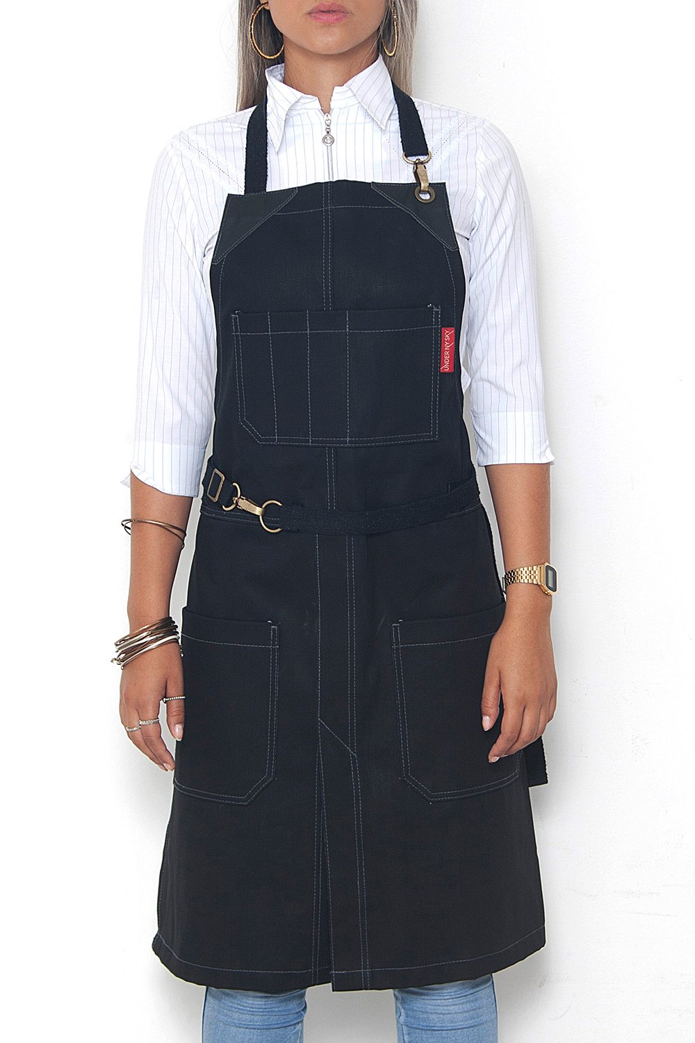 Under NY Sky No-Tie Blackout Black Apron – Coated Denim with Leather Reinforcement, Split-Leg, Adjustable for Men and Women – Pro Barber, Tattoo, Barista, Bartender, Hair Stylist, Server Aprons by Under NY Sky (Image #1)