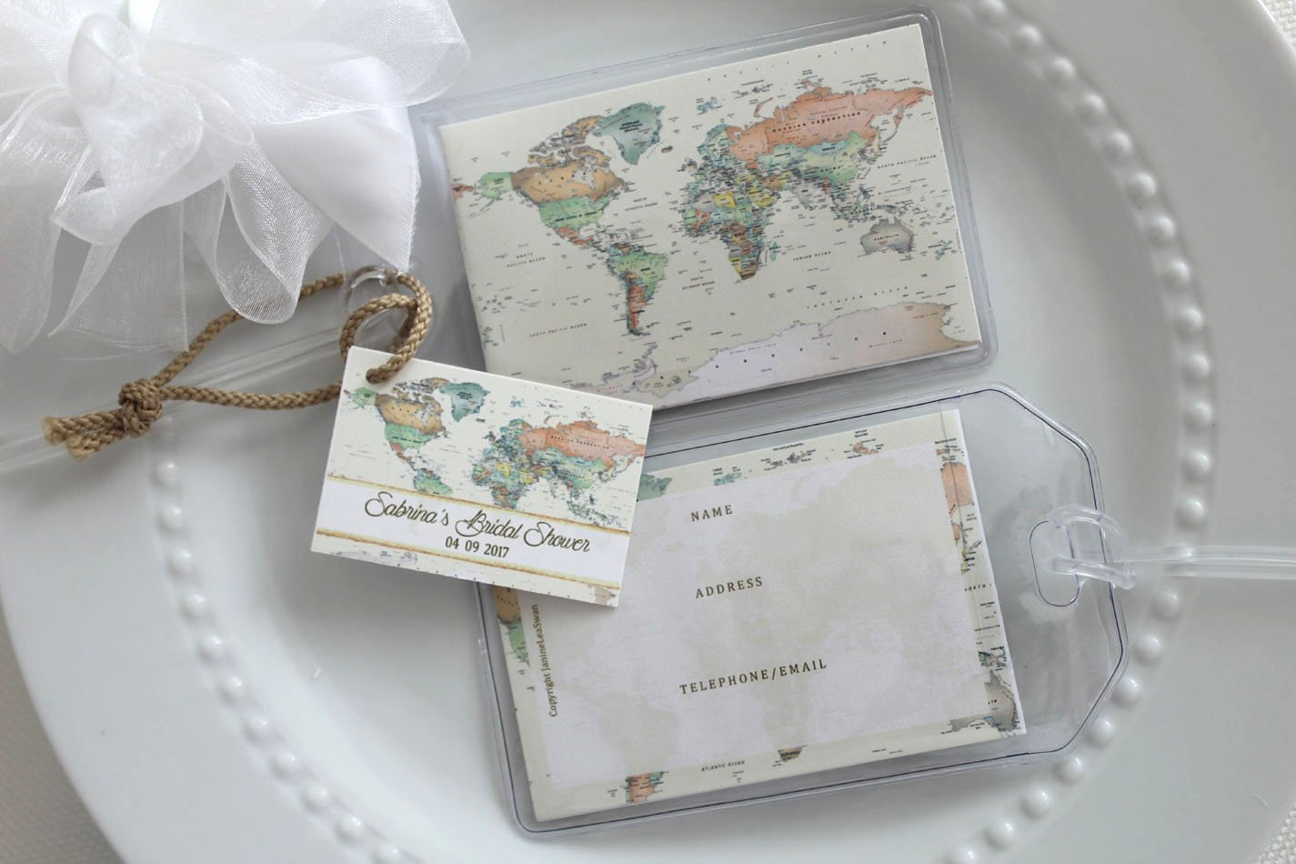 85 World Map Luggage Tag Favors personalized custom $1.50 .ea.
