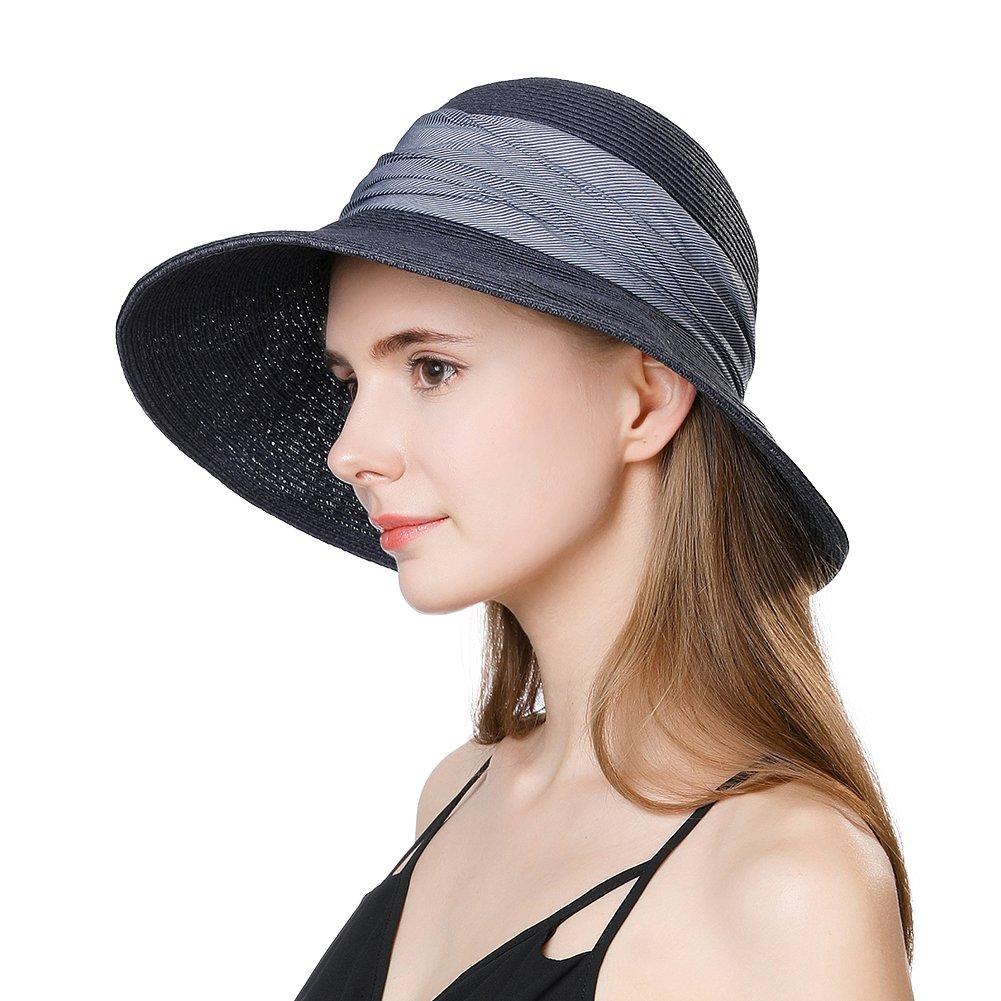 Beige 69055 Jeff & Aimy Womens Sun Hat Straw UPF 50+ Panama Fedora Beach Packable & Adjustable