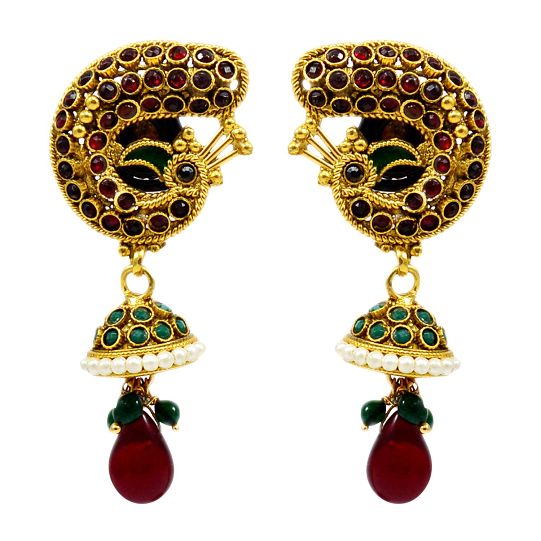 Silvestoo Jaipur Emerald Created Kundan Meena Yellow Gold Plated Earring PG-109533 Ruby