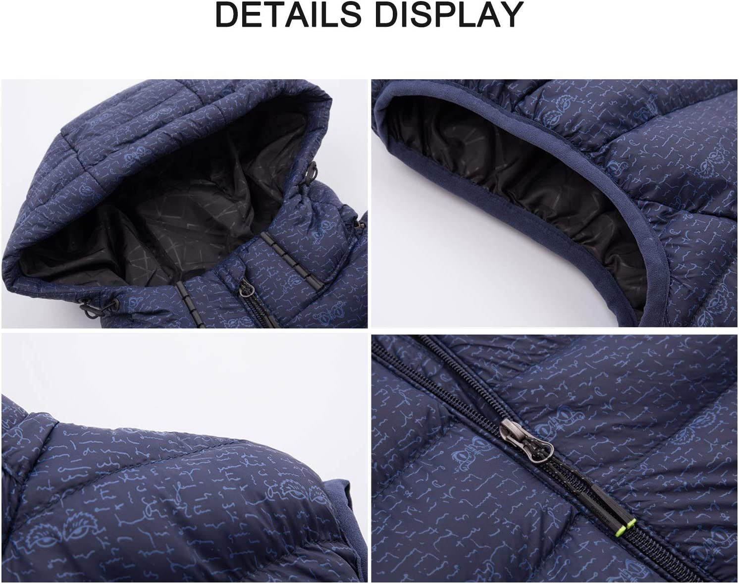 Decdeal USB Heated Warm Security Intelligent Autumn and Winter Vest with Hat Men Motorcycle Outdoor Ski Jacket Blue