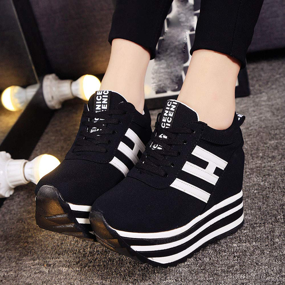 Claystyle High Platform Shoes Women Lace Up Sneaker Canvas Wedge Thick Bottom Sport Shoes Loafers(Black,US: 6.5) by Claystyle Shoes (Image #3)