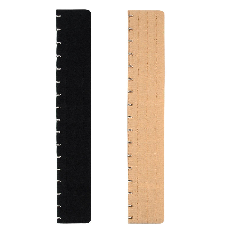 Pack of 2,Black/&Nude Black/&Nude Closecret Women/'s Bra Extender 15 Hooks ba029-15