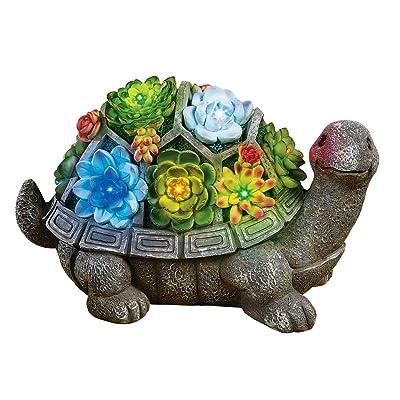 Collections Etc Turtle Garden Statue Solar Lighted Animal Sculpture Decoration : Garden & Outdoor