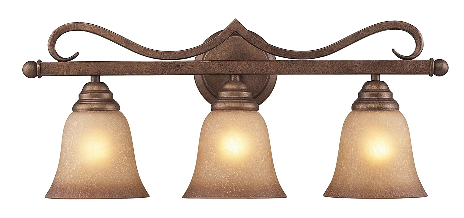 Elk 9322//3 3-Light Vanity in Mocha and Antique Amber Glass