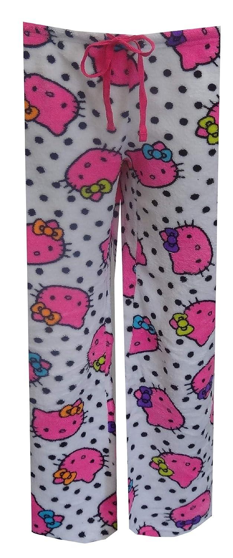 f5838beed Amazon.com: Hello Kitty Women's Pink Faces White Plush Lounge Pants:  Clothing
