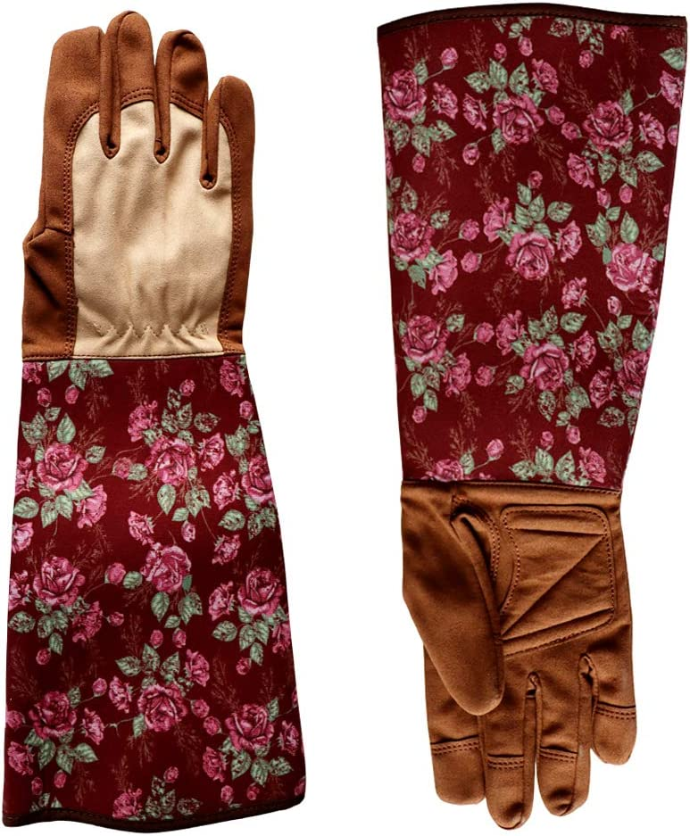 Long Gardening Gloves for Women Ladies Pink Rose Gardener Gloves with Forearm Protection for Puncture Resistant,Pruning-Medium