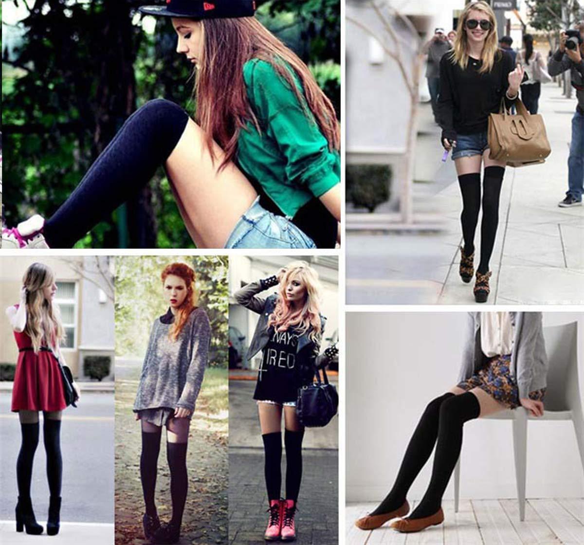 FIBO STEEL 6-9 Pairs Long Thigh High Socks for Women Striped Knee High Leg Warmers