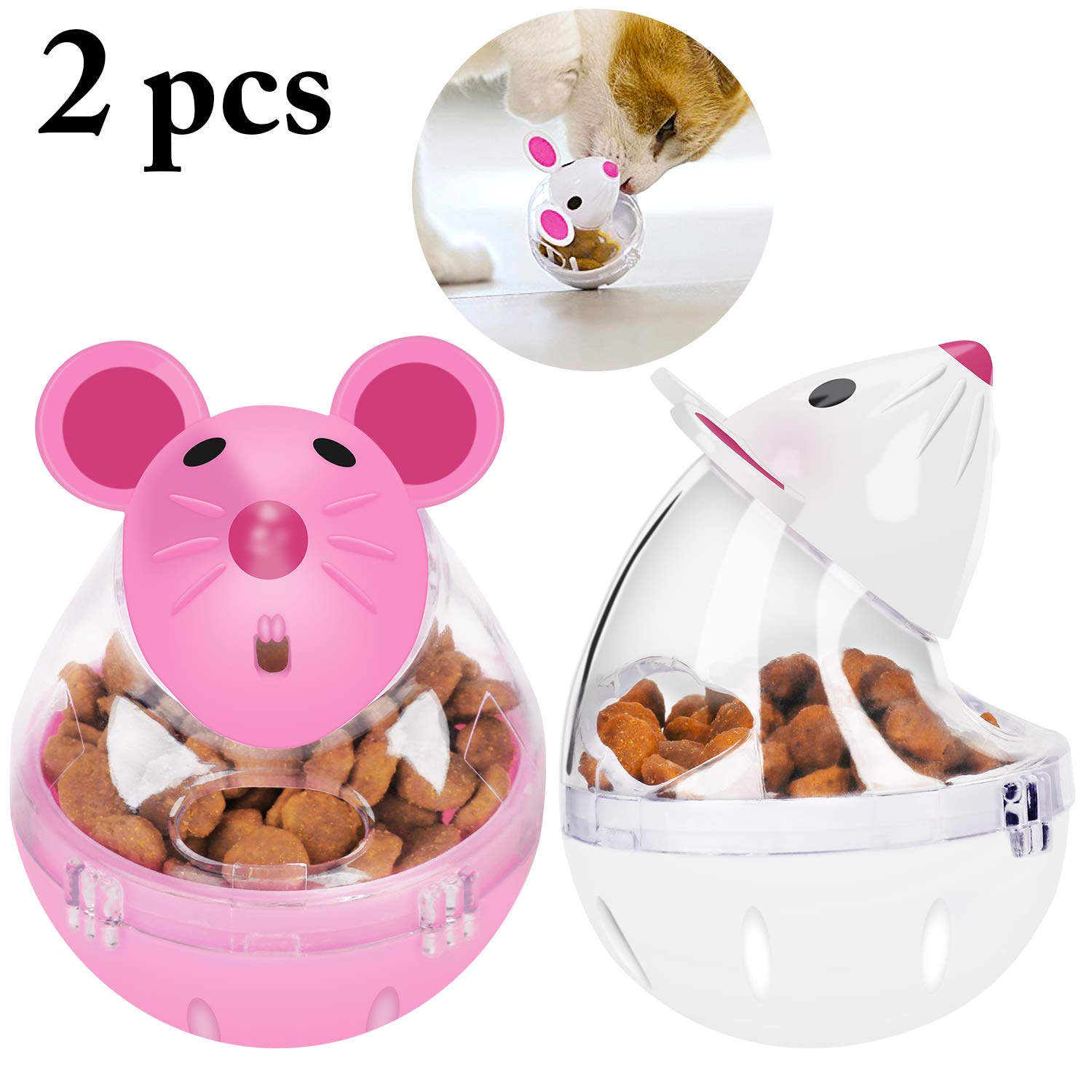 Legendog 2pcs Cat Slow Feeder Cat Food Ball Mice Tumbler Shaped Pet Treat Ball Cat Food Toy Ball Pet Food Ball
