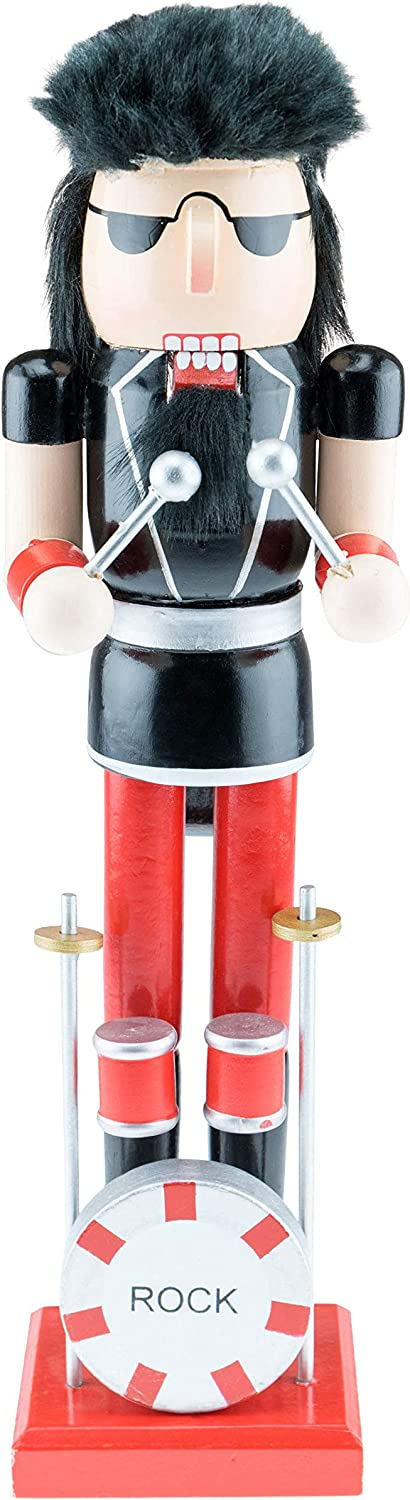 Clever Creations Rock Band Drummer Nutcracker with Sticks and Drum - 15 Inches - Collectible Christmas Figure