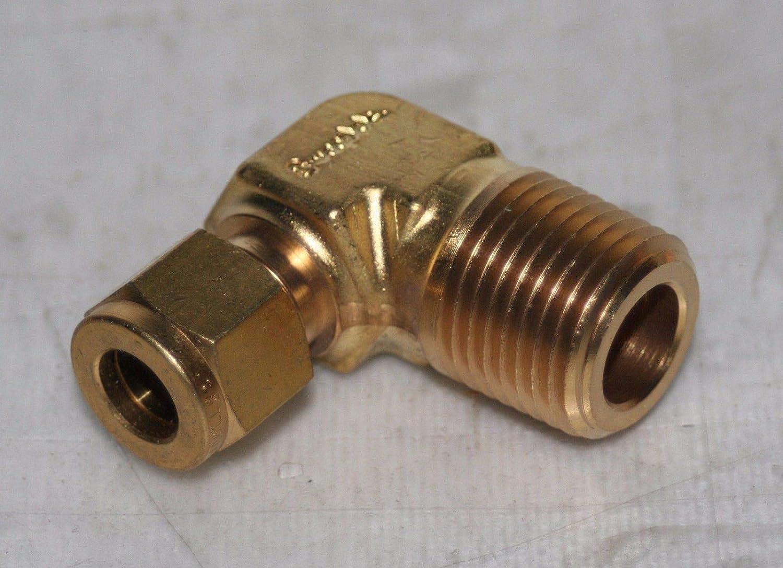 3//8 Tube x 1//2 NPT Brass Male Elbow Parker 6-8 CBZ//Swagelok B-600-2-8