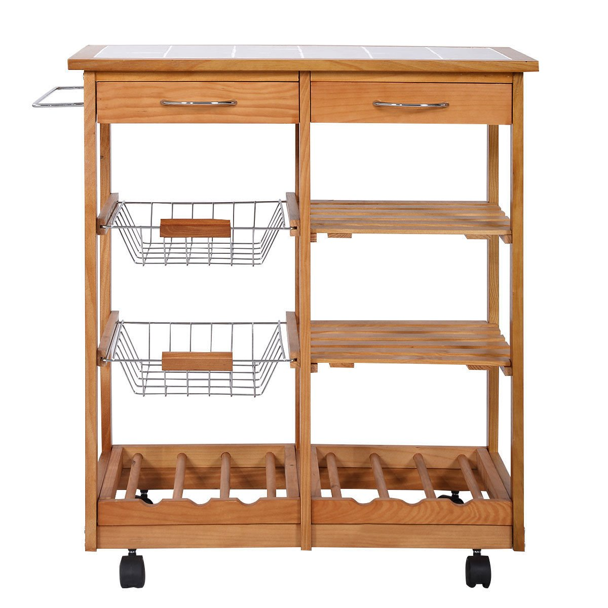 Amazon.com   Rolling Wood Kitchen Trolley Cart Countertop Dining Storage  Drawers Stand New   Kitchen Islands U0026 Carts