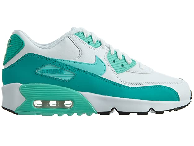 new arrival d6f06 509de Amazon.com   Nike Air Max 90 LTR White Hyper Turquoise-Clear Jade-Black  (GS)   Running