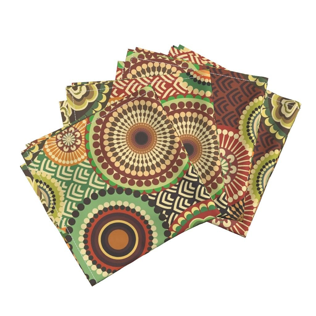 Roostery Eccentric Eclectic Gay Solar Brave Movement Nice Organic Sateen Dinner Napkins Eclectic_Flowers by Chicca Besso Set of 4 Dinner Napkins