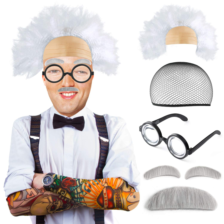 Beelittle Old Man Mad Scientist Wig Set Albert Einstien Ben Benjamin Franklin Grandpa Costume