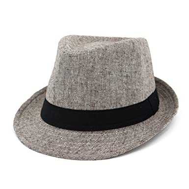 eef6fbfa8077c Black Top Jazz Fedora Hat Church Hats Black Elegant Classic Men Vintage  Sunshade Straw Cap with Ribbon Women Men at Amazon Men s Clothing store