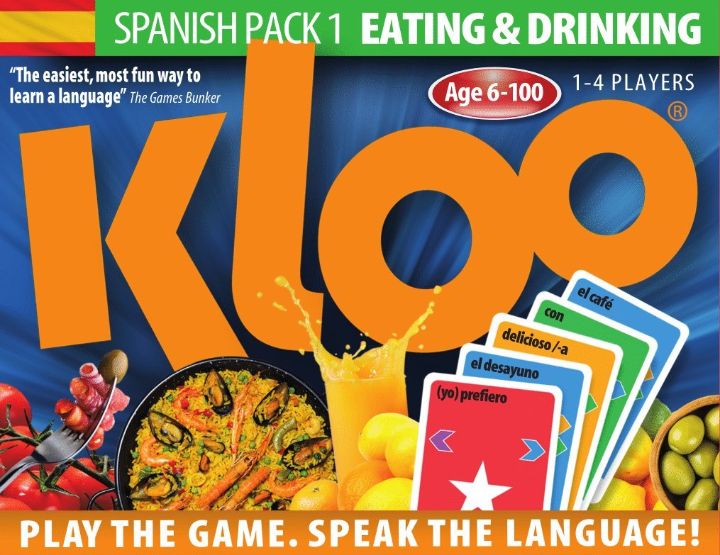 KLOO's Learn to Speak Spanish Language Card Games Pack 1 (Decks 1 & 2)-Spanish Learning Toys for kids