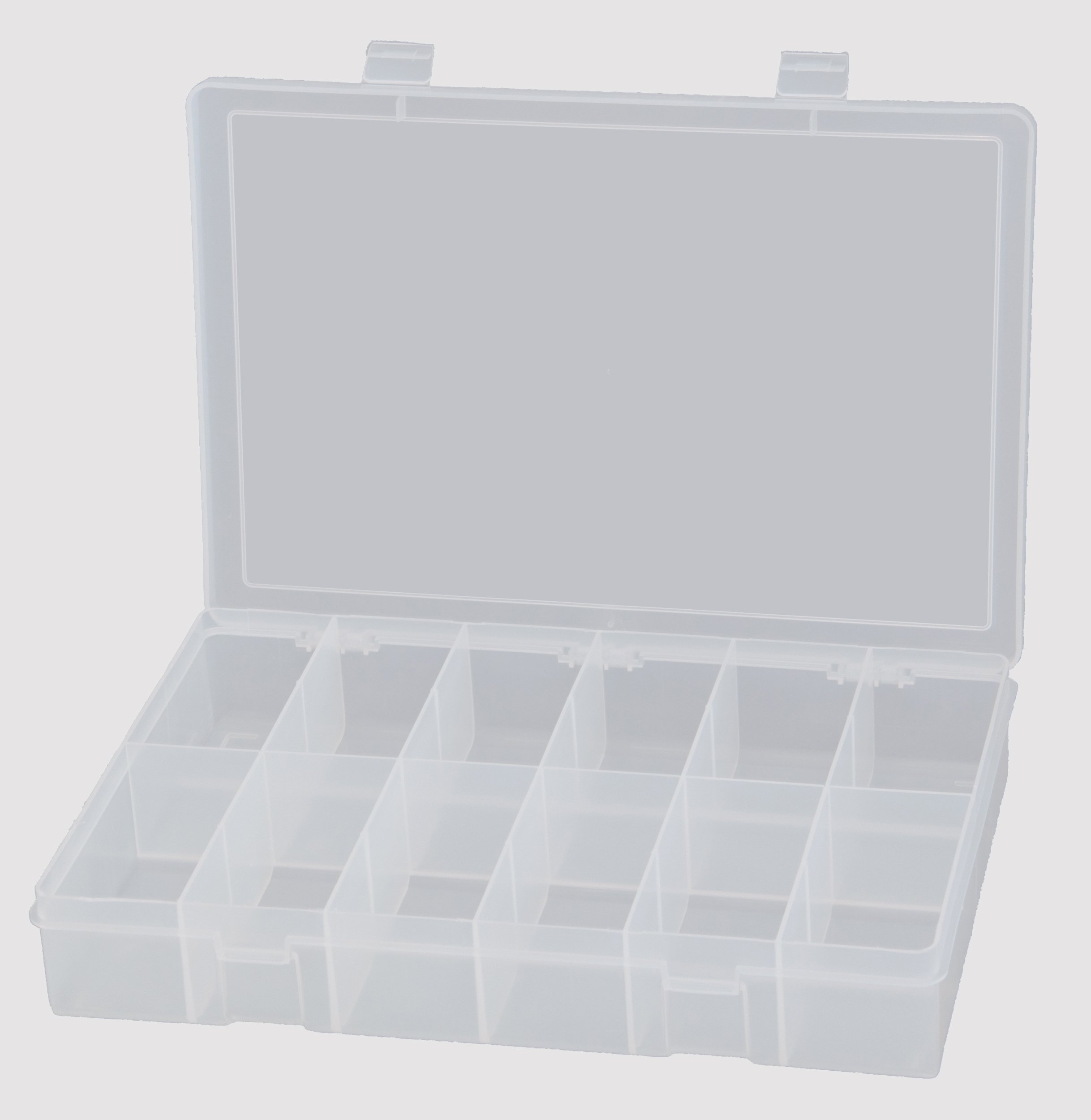 Durham LP12-CLR Polypropylene Large Box, 12 Compartment, 9'' Length x 13-1/8'' Width x 2-5/16'' Height, Clear by Durham (Image #1)