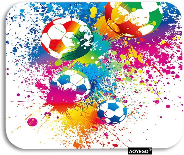 AOYEGO Football Mouse Pad Sports Passion Rainbow Color Soccer Balls Doodle Blot Polka Dot Gaming Mousepad Rubber Large Pad Non-Slip for Computer Laptop Office Work Desk 9.5x7.9 Inch