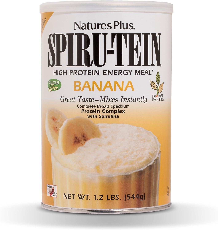 NaturesPlus SPIRU-TEIN Shake - Banana Flavor - 1.2 lbs, Spirulina Protein Powder - Plant Based Meal Replacement, Vitamins & Minerals for Energy - Vegetarian, Gluten-Free - 16 Servings