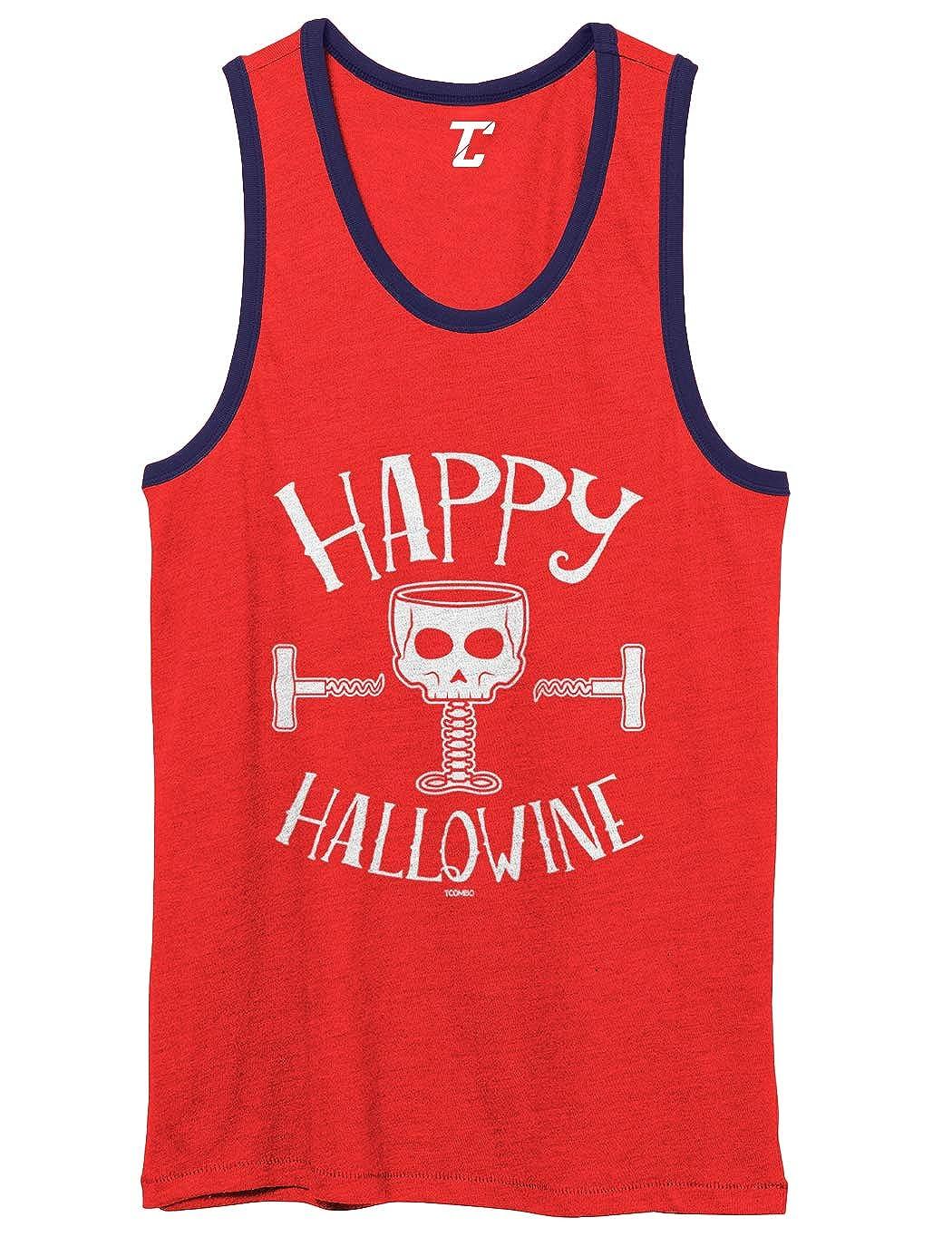 Halloween Wine Skull Unisex 2-Tone Tank Top Happy Hallowine