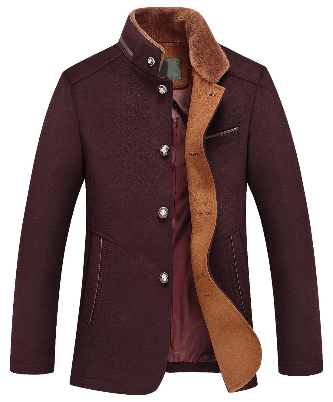 Chouyatou Men's Gentle Band Collar Single Breasted Wool Blend Pea Coat (10Dark Red, Small)