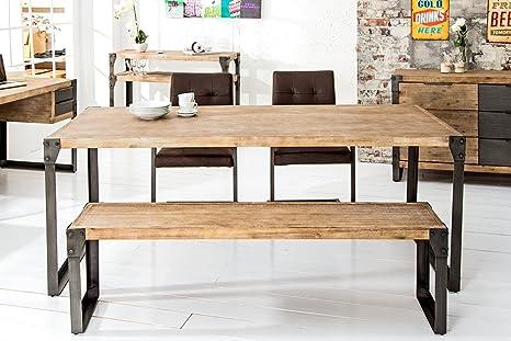 Holzbank industrie design  Massive Sitzbank FACTORY Akazie teakgrau weiß gekälkt 160cm Bank ...