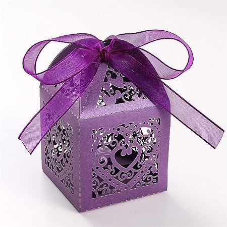 UNHO 25 Piezas Caja Papel para Boda Caja de Regalo para Caramelos Bombones Dulces Galletas Recuerdos Ideal para Boda Cumpleaños Fiesta Comunión Bautizo Color Púrpura: Amazon.es: Hogar