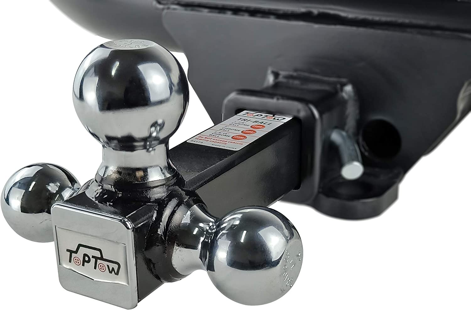 Black Balls with Hitch Pin Fits for 2 inch Receiver TOPTOW 64172HP Trailer Receiver Hitch Triple Ball Mount