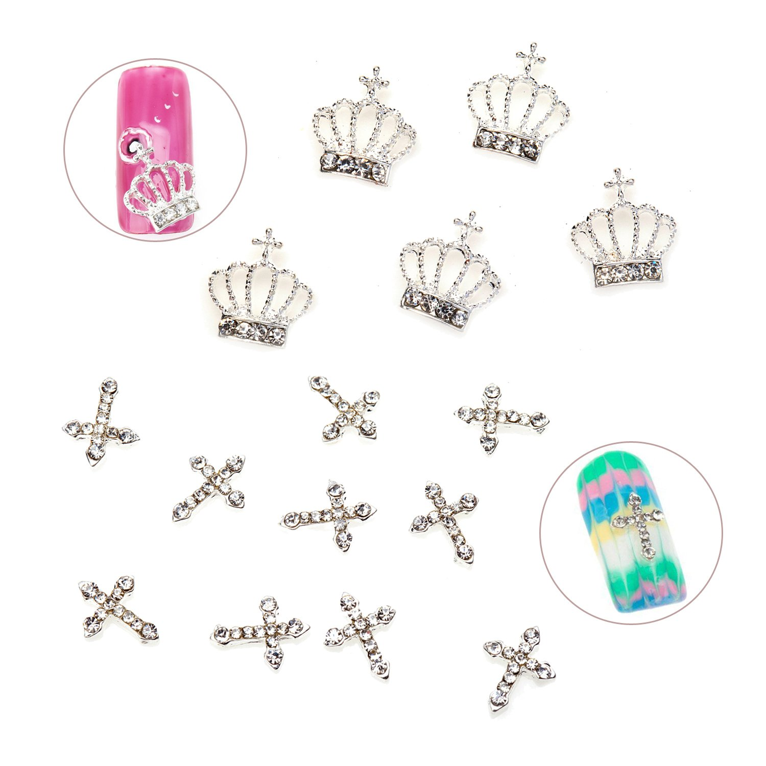 Unique Manicure Nail Art Set Kit of Metal 3D Decorations Crowns And Crosses With Rhinestones Gems Crystals Jewels By VAGA®