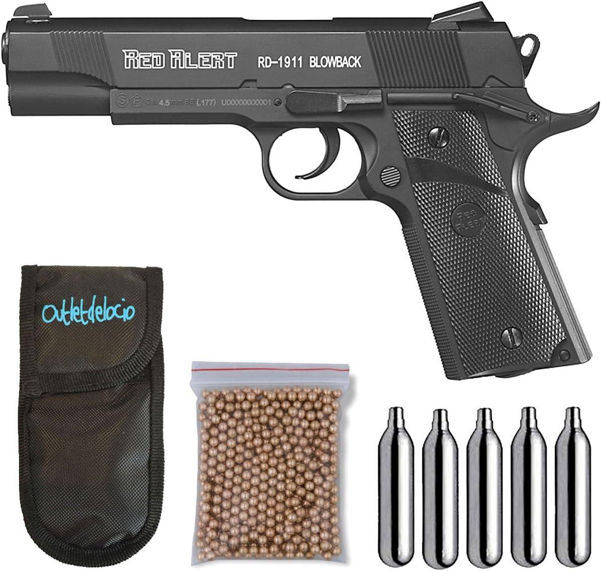 Outletdelocio, Pistola Perdigón Gamo Red Alert RD-1911 Blowback, Calibre 4,5mm BBS, Funda Portabombonas, Balines y Bombonas co2, 23054/29318/38123