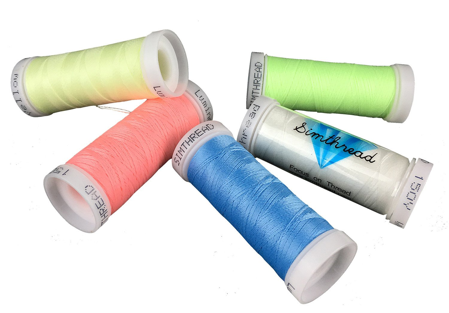 5 different colors glow in the dark embroidery thread 150 yards