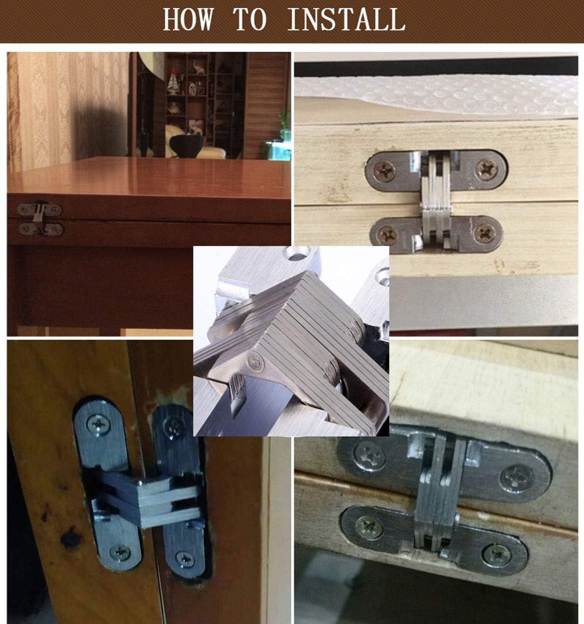 Xuee Hidden Door Hinges Invisible Hinges Hidden Hinges zinc Alloy 180-degree Casement Hinges 1pair with Screw