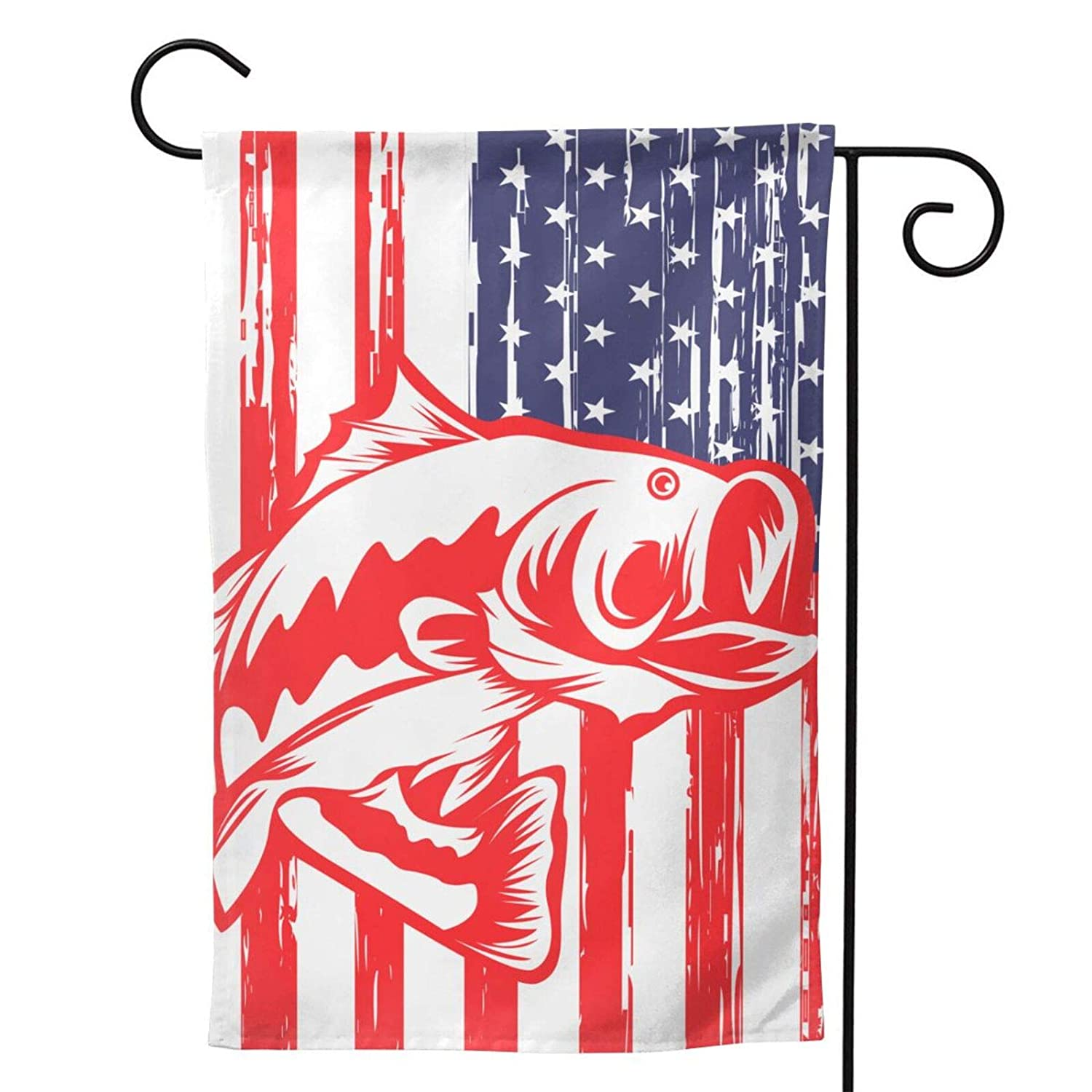 American Fishing Flag Garden Flag Vertical Double Sided 12.5 X 18 Inch Yard Outdoor Decor