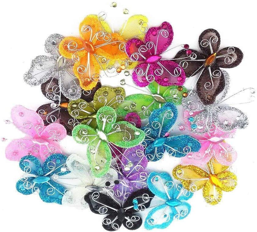 ENJOY FLOWERS /& BUTTERFLY GLITTERED STICKERS EMBELLISHMENTS FOR CARDS OR CRAFTS