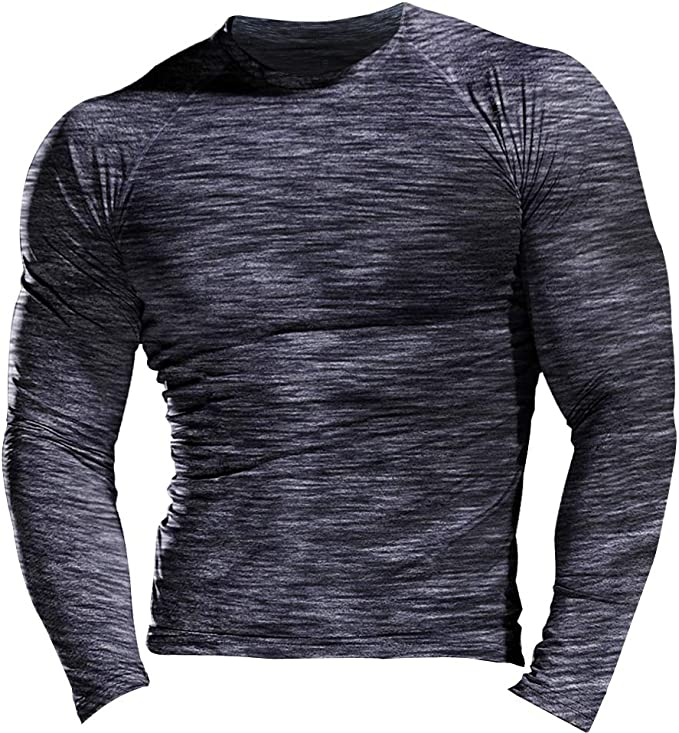 Men Gym Muscular Fitness Bodybuilding Crew Neck T Shirt Sweatshirts Basic Tee ZB
