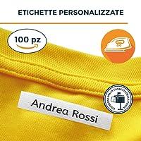 Haberdashery - 100 etichette personalizzate termoadesive con CERTIFICATO ECOLOGICO per marcare nomi da stirare con ferro sui vestiti per bambini, grembiuli, abbigliamento