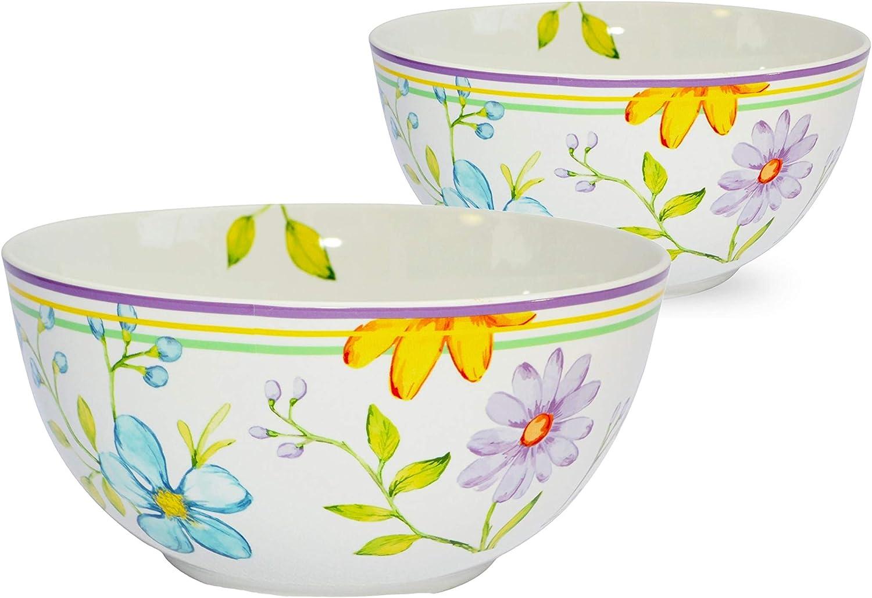 "Euro Ceramica Charlotte Collection Stoneware Dinnerware and Serveware 9"" Fruit/Vegetable/Salad Serving Bowl, Set of 2, Watercolor Floral/Garden Design, Multicolor"
