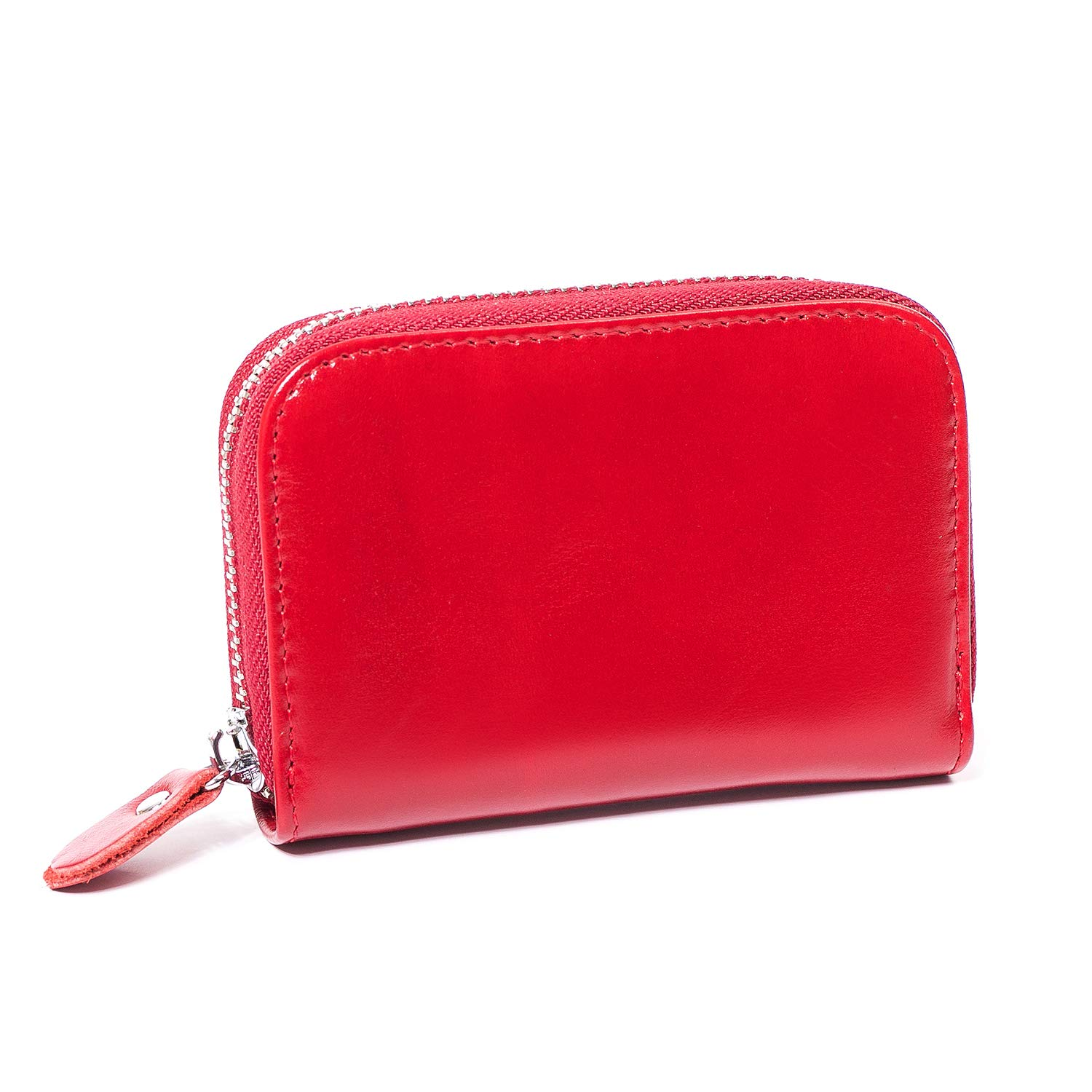 Genuine Leather Credit Card Holder with RFID Blocking Zipper Wallet GJMY