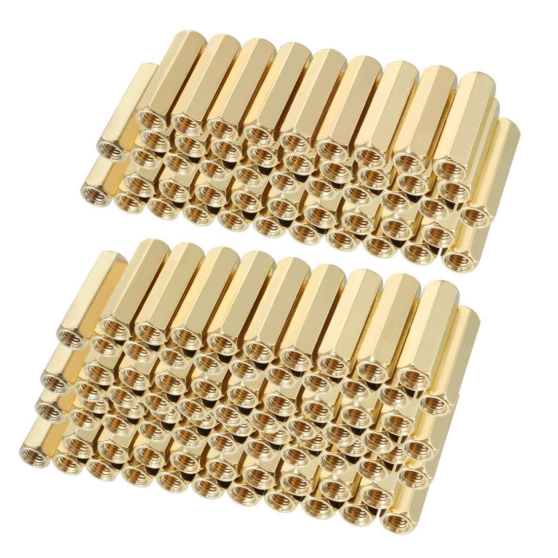uxcell 120pcs Brass Straight PCB Pillar Female Thread Hex Standoff Spacer M3x5x16mm