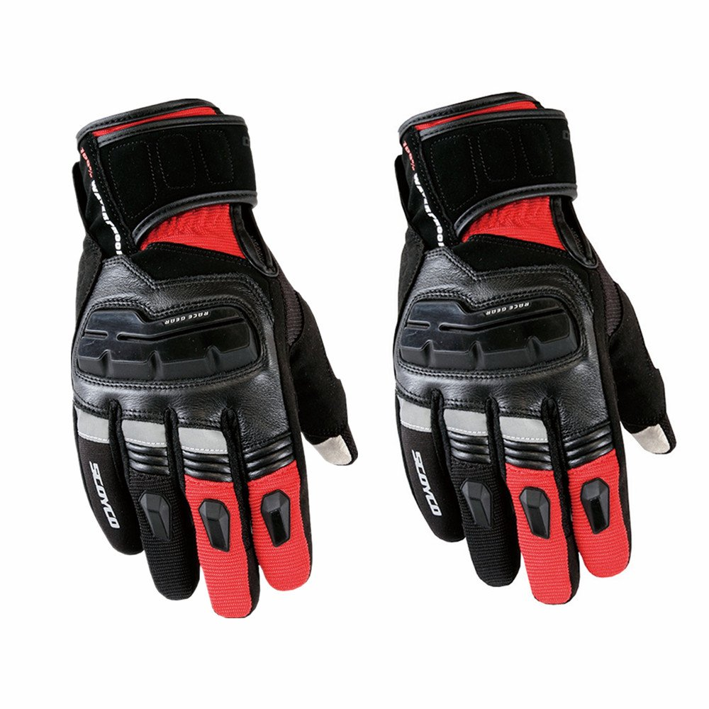 Sdcvopl Protective Gloves Protective Motorcycle Gloves Cycling Mountain Bike Men Gloves for Motorbike Cycling Racing Ventilation (Color : Red, Size : M)